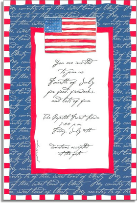 <B> 20 AVAILABLE AT SALE PRICE!</b><br><br>A great 4th of July invitation  this patriotic invitation has a red and white striped border and a blue border with the with a verse from the national anthem repeating down the invitation.  The inside border is a bright red with a grand united states flag that adorns the top.  Includes white envelopes.