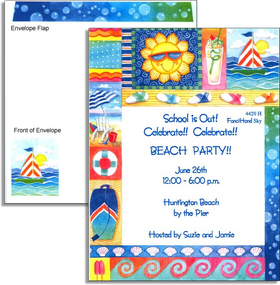 This vibrant invitation features a border containing everything you need to have fun in the sun!  Colorful patterns, a sailboat, a frosty beverage and a cheerful sun set the scene for your summer party or picnic at the beach!<br><br>Our premium quality cardstock is easy to print on your inkjet/laser printer or we can personalize them for you.  The designer coordinating envelope is included.