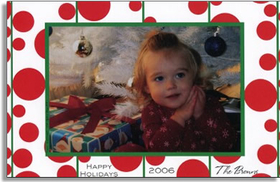 <b>30 AVAILABLE AT SALE PRICE!</b><br><br>Holiday photo cards accommodate 4&quot;x6&quot; or 3.5&quot;x5&quot; photos, horizontally or vertically. Available either blank or personalized. White envelopes are included. To secure photo cards, use double stick tape or glue stick.<br><p><b>PLEASE NOTE, THIS IS A FLAT CARD THAT DOES NOT OPEN AND HAS LIMITED SPACE FOR GREETING AND PERSONALIZATION.