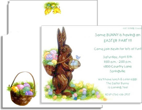 This chocolate bunny is ready to hop over to celebrate Easter!  Its got a basket full of colorful decorated eggs for the perfect Easter party.  The coordinating envelope is decorated with two little chicks inspecting a few stray eggs in the grass and a filled Easter basket.<p>Premium quality cardstock includes coordinating envelope shown.  Inkjet/laser compatible and available blank or personalized.</p>