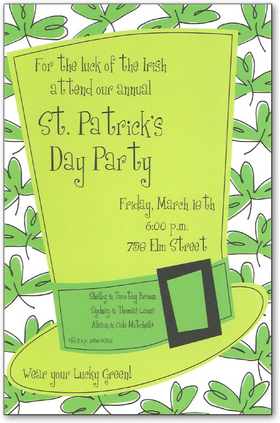 <b>30 AVAILABLE AT SALE PRICE!</b><br><br>A St. Patricks Day invitation fit for the Irish!  Its got a tall green leprechaun hat with three leaf clovers in the background.  Its a perfect way to celebrate St. Patricks Day, or really capture the Irish theme for your themed celebration!<p>A trendy design printed only on premium fine quality 80 lb. card stock. Available either blank or personalized. Includes white envelope.</p>