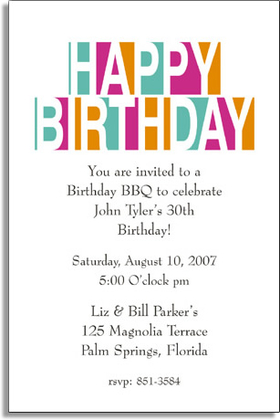 ANY CELEBRATION   GENERAL THEME Invitations Happy Birthday Letters riMp5I8r