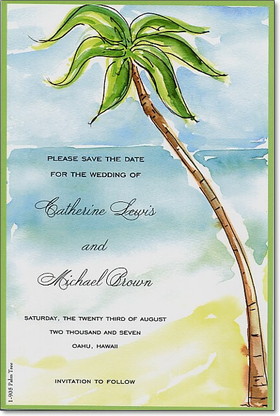 <h2>25 AVAILABLE AT SALE PRICE! </h2><br><br>Great invitation for any destination wedding or rehearsal dinner.  This beautiful invitation has a water color look to the ocean scene along with the pam tree that sits beach side.  Includes white envelope.