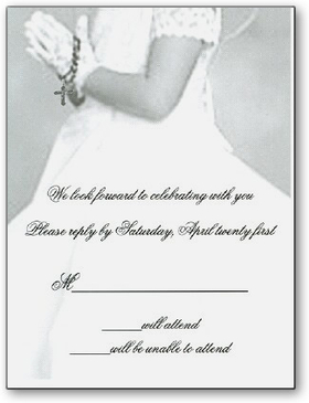 Beautiful Girls first communion Response card.  Card shows a child with white glove in prayer holding a rosary and wearing a precious flowing dress.  Your personalization is placed on a vellum overlay and is assembled carefully.  Comes with a white envelope and includes your address printed on the front of the envelope.