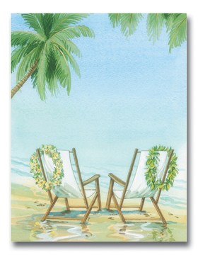 This beautiful desgin features two beach chairs with his and hers leis hanging on the back.  A tropical palm tree and an endless blue ocean create a relaxing yet festive scene!  Perfect for a designation wedding or themed couples shower.<br><br>Envelopes are sold separately.
