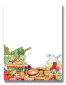 This mouth-watering design is perfect for your summer bbq!  A table full of hamburgers, hot dogs, cold lemonade and colorful vegetables will tempt your guests!  <br><br>Our premium quality laser paper is easy to print on your inkjet/laser printer or we can personalize them for you!  Envelopes are sold separately.