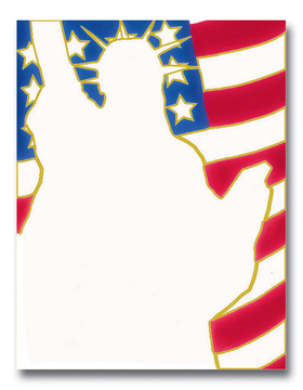 what better way to show your 4th of July spirit with this great patriotic paper.  Designed with the silhouette of the statue of liberty holding her torch high in the sky and the american flag soaring in the background.  envelopes are available but sold seperately.