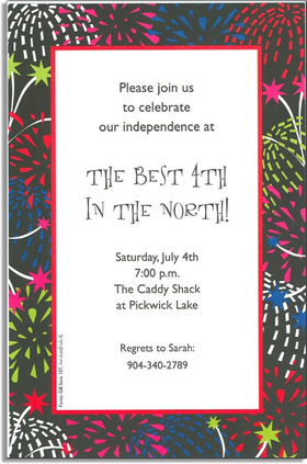 Fireworks light up the night sky!  This invitations is decorated with stars and birsts of color against a dark background.  A great way to celebrate a firework heavy occasion like the 4th of July!<p>A trendy design printed only on premium fine quality 80 lb. card stock. Available either blank or personalized. Includes white envelope.</p>