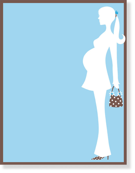 this stylish mom is showing her baby bump in a white silhouette against a baby blue