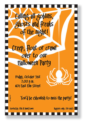 If your looking for that added Creepy touch then this simple spider and spider web invitation is a pleaser.  With a white silhouette of a creepy crawly spider on an orange background, complete with web and black  and white border.  Printed on 80 lb. card stock. Available either blank or personalized. Includes white envelope.