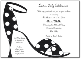 This fun and flirty design features a stylish black ladies stiletto with fun white polka dots.  Perfect for your ladies night out or birthday party!  Printed on premium quality cardstock and white envelopes are included.
