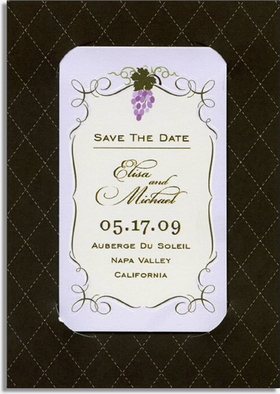 SAVE YOUR DATE with our beautiful couture magnets.  Each magnet is personalized with your information and includes background card and white envelope.<p>Magnets are 2&quot; x 3.5&quot; and inserted into coordinating background card 3.5&quot; x 4.75&quot;.  Background card is a holder for the magnet and is not magnetized.</p>  <P><B>PLEASE NOTE:</B> Space is limited for text on magnet as shown.</p><p>Not available blank.</p>