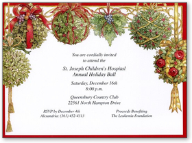 Stylish and Festive cardstock invitation includes white envelope.  Easy to print on your inkjet/laser printer or we can print for you.<p><B>GOLD FOIL EMBOSSED</B> design on ribbon, hanging balls and edge of card.</p>