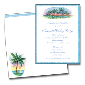 This festive design features a colorful tropical island scene with palm trees decorated with holiday lights and a coordinating blue border.  What a vibrant way to spread your holiday cheer or announce your tropical Christmas party!  <br><br>Our premium quality cardstock is easy to print on your inkjet/laser printer or we can personalize them for you.  The designer coordinating envelopes are included.