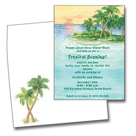 You can almost feel the ocean breeze as you enjoy the beautiful island sunset on these tropical invitations!  A green island with swaying palm trees sits in the crystal blue ocean as the sun is setting in the golden sky.  Perfect for a destination wedding or a tropical holiday!<br><br>Available blank or pesonalized and the coordinating envelopes are included.