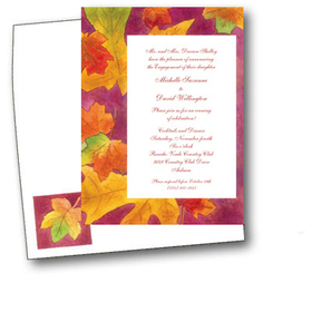 This lovely invitation is decorated with the rich colors of fall leaves. It is a great choice for a Thanksgiving invitation or a fall bridal invitation. Includes coordinating envelope shown. Inkjet/laser compatible and available blank or personalized.