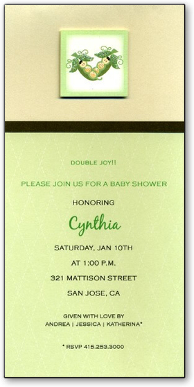 This grean, brown, and cream colored invitation has a modern style with two adorable baby pea pods depicted at the top.  It rests at the intersection of classic, trendy, and precious! It is an ideal choice for a twin baby shower or birth announcement.<P>Make an impression with our beautiful couture hand glittered invitations.  Laser designed die-cut is hand embellished with clear glitter.</P><p>Available blank or personalized and includes white envelope.</p><B>BLANK:</B> If ordering BLANK, glitter will already be applied to die-cut, but die-cut will not be attached to background card.</p><P><B>PERSONALIZED: </B>If ordering personalized, die-cut will be pre-glittered and not attached to background card.  If you need die-cut attached to background card, please specify in comment section of order form and we will add assembly fee to your order.</p><P>PLEASE NOTE: Text can be printed in 2 colors/fonts as shown.  Just specify you want font style/font color like sample when ordering.</p><p>CARD COLORS: Top portion of card is tan, horizontal stripe is brown, bottom design is pastel seafoam green with very light white harlequin design.</p>