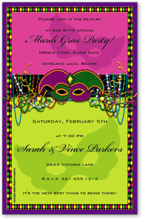 Colorful and fun! Whether its a Mardi Gras party or New Years Eve, this brilliant green and purple card will dazzle your guests with its sparkling mask and beaded necklaces. <p>Premium quality cardstock is inkjet/laser compatible and available blank or personalized.  Includes white envelope.</p>