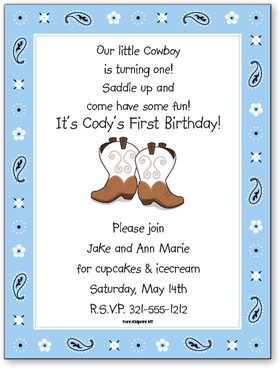 This fun and colorful invitation is perfect for your little buckaroos next party!  Digitally printed for bright, crisp color on premium quality cardstock.  Available personalized only.  Includes white envelope.