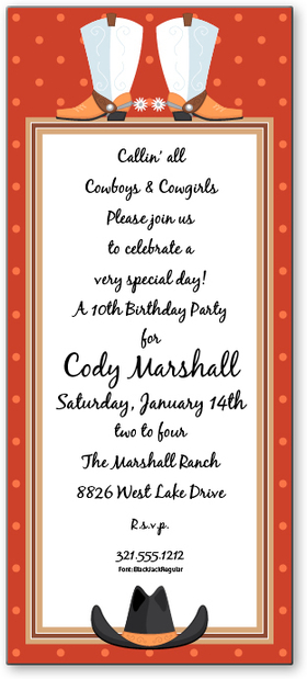 On Sale While Supplies last!<br><br><br><br>Colorful Western themed invitation! Premium quality cardstock is inkjet/laser compatible and available blank or personalized.  Includes white envelope.