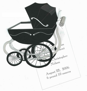 "Darling die-cut carriage that you attach to imprintable 3.5"" x 5.5"" flat card with white satin ribbon provided. <p><B><UL>DETAILS:</B></P><LI>100# premium white cardstock and includes white envelope</li><li>You will need to attach the flat imprinted card to the die-cut card with the white satin ribbon provided.  We can assemble for you at an additional cost of $1.00 per card. <i>(note in comment section of order form if you need assembly and we will add assembly price to your order after we receive it.)</i></li><li>Imprintable flat card is easy to print on any inkjet or laser printer.</li></UL>"
