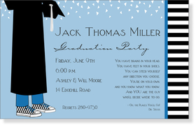 A young mans graduation invitation is created with a light blue background and a grad in gown holding cap with white confetti falling from the top.  Completed with a black and white stripe.  Includes a white envelope.