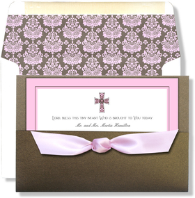 <b>OUT OF STOCK</b><br><br>This elegant invitation features a pretty pink border with a slim chocolate outline that coordinates with the intricate pink and brown cross along the top.  Invitation inserts into the brown sparkle pocket card 7.75&quot; x 5.25&quot; The pink satin bow ties onto pocket card. (CUSTOMER ASSEMBLY REQUIRED). We can attach bow for you at a charge of $1.00 each.</p><p>Can be printed on your inkjet/laser printer or we can print for you.  Includes white envelope lined in coordinating design.  Liner needs to be attached to envelope. <p>Matching reply cards also available.</p>