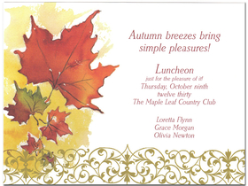 This beautiful card is decorated with fall leaves and a swirling vine border along the bottom.  Its an elegant and classic way to celebrate any Autumn event!<p>Premium quality cardstock includes white envelope. Inkjet/laser compatible and available blank or personalized.</p>