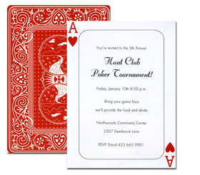 Discontinued<br><br>A giant poker card! This double-sided design looks like the Ace of Hearts on the front, and a classic red playing card on the back. It is great for poker tournaments and casino or Vegas themed events. <p>Stylish and Festive cardstock invitation includes white envelope.  Easy to print on your inkjet/laser printer or we can print for you.<p>
