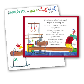 Colorful and fun premium quality 80# cardstock <B>INCLUDES ENVELOPE WITH COORDINATING DESIGN!</B><P>Easy to print on your inkjet/laser printer (ORDER BLANK), or we can print for you (ORDER PERSONALIZED).</P>