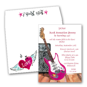 Rock on!  This trendy invitation features a hot pink electric guitar leaning against an amplifier.  Perfect for the rocker in your life!  Printed on premium quality 80# cardstock <B>INCLUDES ENVELOPE WITH COORDINATING DESIGN!</B><P>Easy to print on your inkjet/laser printer (ORDER BLANK), or we can print for you (ORDER PERSONALIZED).</P>