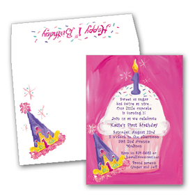 Pretty pink party for your pretty little princess!   This great invitation has a fun pink painted background and a giant cupcake with one candle at the top.  A birthday cap sits to the side to give the card a fun look.  Includes a cute coordinating designer envelope.
