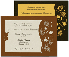 <B> SALE!  45 AVAILABLE AT SALE PRICE! </B><br><br>Elegant laser-cut Autumn leaf design includes imprintable vellum insert.  Vellum inserts easily into background card through die-cut design.  Includes envelopes. Only available in Copper.  <P>Invitation (vellum) can be printed on your inkjet/laser printer or we can print for you.  <P>Background card is 5&quot; X 7&quot; vellum insert is 4&quot; x 6&quot; .</p>