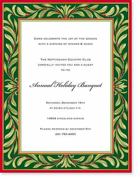 OUT OF STOCK<br><br>A beautiful green and red holiday paper that is designed with a festive border of green foilage that is perfect for any holiday announcement.   Envelopes sold separately.