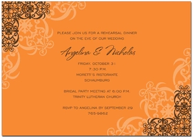 This graceful decoration has a pumpkin and chocolate scroll design along the corners. It is perfect for a formal fall event. CRISP DIGITAL COLOR!  Printed on premium 100lb cardstock, you will love the rich color of this unique digitally created design.<p>TEXT COLOR IS ONLY AVAILABLE AS SHOWN IN SAMPLE (but you can select text style).</p><p>Not available blank.  Includes white envelope.</p>