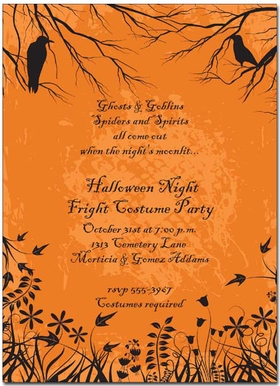 An eerie scene for a Halloween party invitation. This card is decorated with flowers and fronds from a field with crows loitering in the overhanging branches. CRISP DIGITAL COLOR!  Printed on premium 100lb cardstock, you will love the rich color of this unique digitally created design.<p>TEXT COLOR IS ONLY AVAILABLE AS SHOWN IN SAMPLE (but you can select text style).</p><p>Not available blank.  Includes white envelope.</p>