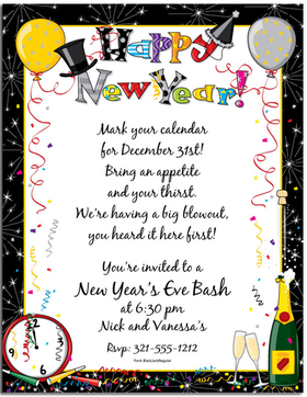 A Great New Years party paper!  This fun and festive New Years paper will be a hit at any new years eve party.  Designed with confetti falling and balloons floating.  The words Happy New Year! on the top of the paper and a clock on the corner of the invitation along with a bottle of bubbly.