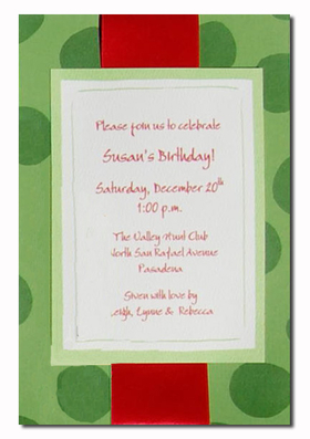 The Elegant invitation with an Red ribbon. Comes with an ivory envelope.  Inside card is a heavy ecru paper that can easily be printed by a laser printer or we can print it for you.  Assembly is required or If you have us print for you, we can also assemble it for you ($1.00 per card for assembly) If you would like assembly please note in the comments.