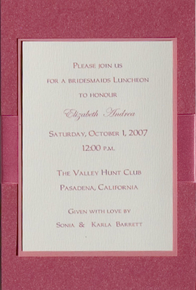 The Elegant invitation with an Pink ribbon. Comes with an ivory envelope.  Inside card is a heavy ecru paper that can easily be printed by a laser printer or we can print it for you.  Assembly is required or If you have us print for you, we can also assemble it for you ($1.00 per card for assembly) If you would like assembly please note in the comments.