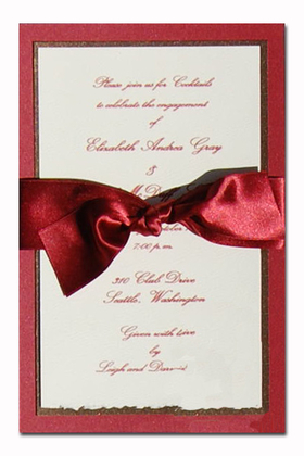 This is perfect for a formal business event or a wedding!  This invitation is designed with a heavy burgundy bottom card that has a hint of shimmer to add that right touch of elegance.  A middle card is created from a chocolate colored card stock and is topped with an ecru card that is for your personalization.  This invitation does require assembly. If you are ordering personalized and would like us to assemble-.50 cents per card will be applied.  Includes an ecru envelope.