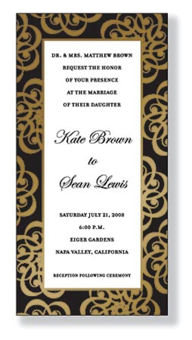 Exclusive line and trendy design printed  on premium fine quality 100lb. Ivory  card stock with gold foiling in border.  Available blank or personalized. Includes Gold envelope.