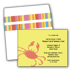This cute and fun card has a bright crab crawling across a sunny yellow background.  Its coordinating envelope is striped in multicolored bright bands. It would make the perfect invitation for a clambake or seafood cookout, or any celebration with an ocean/beach theme! <p>Make an impression with these fun invitation/announcement cards. New Summer Breeze designs are tropical & trendy! Premium quality cardstock is inkjet/laser compatible and available blank or personalized.  Coordinating envelope is included.</p>