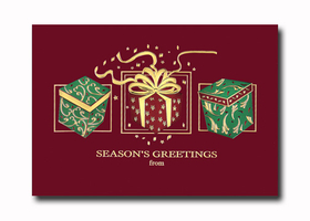 What better way to showcase your business this season than with our classic premium cardstock greeting cards which include lined envelopes and are personalized with your company name or logo.<br><p></p><br>FEATURES:<br><ul><li>Beautiful heavy card stock with Gold text and gold foil design.</li><br><li>White envelope lined in gold foil</li><br><li>Select verse from list and your choice of ink color to be printed inside card</li><br><li>Specify company or personal name to be printed inside card</li><br><li>Card opens and text is imprinted inside card</li><br><li>Logo imprinting available starting at $16.  Please inquire with us</li><br><li>Return address on envelopes available</li><br>Text only available in Gold.