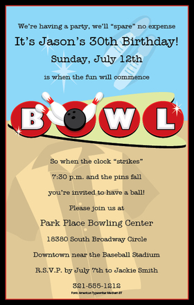 "Lets Bowl! This invitation has a great two tone design with blue and brown as the background and the center has the word ""Bowl"" in fun bowling alley lettering.  Inlcudes a white envelope. Available personalized only."