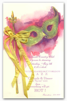 This beautiful card has a handpainted effect that depicts a traditional Mardi Gras mask.  The green mask and gold handle overlay a purple and pink background.  A silky gold ribbon is attached to the card to complete the effect. <p>Premium quality cardstock can be printed on your inkjet/laser printer or we can print them for you. If ordering blank assembly is required after printing, or if personalized here, we can assemble them for you (.50 cents per card).  Gold ribbbons and white envelopes are included.</p>