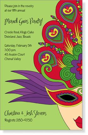 Invitations MARDI GRAS Invitations Mardi Gras lady