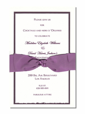 This elegant metallic violet and white multi-layered invitation is topped off with a stylish violet ribbon.  White envelopes are included.  The top card is a heavy ecru paper that can easily be printed by a laser printer or we can print it for you.  Assembly is required or we can assemble personalized orders for you at a cost of $1.00 per card.  If you would like assembly please note in the comments.Comes with an white envelope.  Inside card is a heavy ecru paper that can easily be printed by a laser printer or we can print it for you.  Assembly is required or If you have us print for you, we can also assemble it for you ($1.00 per card for assembly) If you would like assembly please note in the comments.