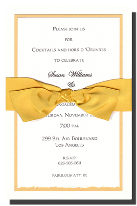 This elegant metallic yellow and white multi-layered invitation is topped off with a cheerful yellow ribbon.  White envelopes are included. The inside card is a heavy ecru paper that can easily be printed by a laser printer or we can print it for you.  Assembly is required or we can assemble personalized orders for you at a cost of $1.00 per card. If you would like assembly please note in the comments.