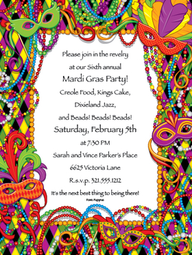 Invitations MARDI GRAS Invitations Mardi Gras Digital Invitation