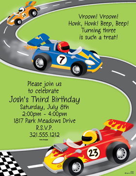 Vrooooom! if you are looking for a great go-cart racing stationery or race car paper this is it.  perfect for a little guys birthday party!  A fun way to announce your up coming party. <br>colored envelopes are available but are sold seperately.